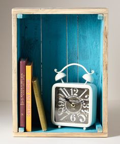 Love the pop of color in this crate shadow box!