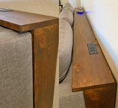 These Behind The Couch Tables With Integrated Outlets Are Becoming A Thing, And We Love It Diy Furniture, Home Furnishings, Home Furniture, Table Behind Couch, Sofa Table, Diy Sofa, Home And Living, Diy Sofa Table, Couch Table