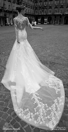 Lovely embroidered train and illusion neckline on this gown | Alessandra Rinaudo 2016 Wedding Dresses