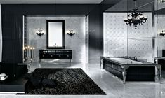Extremely luxurious and expensive modern bath in black design.