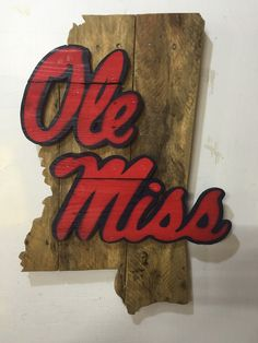 Ole miss rebels reclaimed pallet wood sign 24 tall Wood Pallet Signs, Pallet Art, Wooden Signs, Collage Football, Football Decor, Football Signs, Beer Crafts, Diy And Crafts, Arts And Crafts
