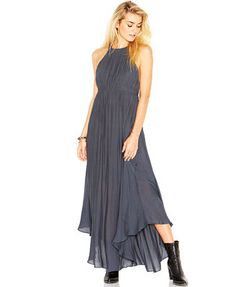Free People Caught In The Moment T-Strap Chiffon Halter Maxi Dress