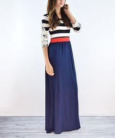 Love this Navy Crochet Sleeve Maxi Dress on #zulily! #zulilyfinds