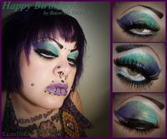 The facial piercings are a bit much, but they eye/lip makeup is so fun!The facial piercings are a bit much, but they eye/lip makeup is so fun! Bright Makeup, Dramatic Makeup, Funky Dresses, Glamour Nails, Birthday Makeup, Facial Piercings, Violet Hair, Lip Makeup, Halloween Face Makeup