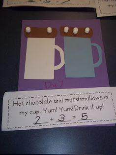 Addition with marshmallows- idea Mrs. Wood's Kindergarten Class: Hot Chocolate Math