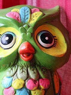 Mod Green Vintage Owl Figurine.