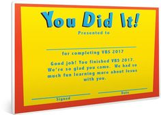 Free printable vacation bible school certificate kids free vbs certificate of completion this is a quick and easy way to encourage all yadclub Choice Image