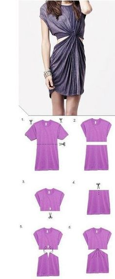DIY T-shirt dress or swimsuit cover up