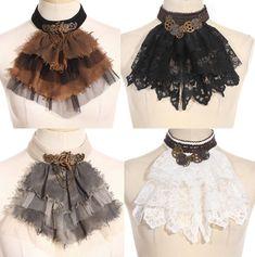 RQ-BL Gothic Kragen Jabot schwarz weiß braun grau Steampunk brown white black | eBay