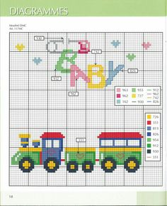 Cross Stitch Train and Baby Baby Cross Stitch Patterns, Cross Stitch For Kids, Cross Stitch Baby, Cross Stitch Charts, Cross Stitch Designs, Cross Stitch Train, Cross Stitching, Cross Stitch Embroidery, Embroidery Patterns