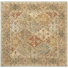 Heritage Light Blue Brown Hand Tufted Wool Area Rug 6 X