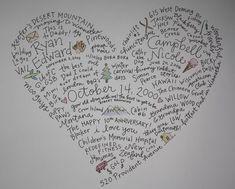 Marriage memories for anniversary.  Love this, wish I had nice handwriting!  :)