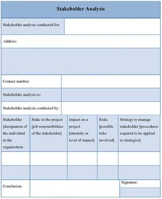 Stakeholder Analysis Template  Stakeholder Analysis