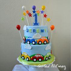 Cars – Grated Nutmeg - Ideas for Amars bday cake - Diy Birthday Gifts For Mom, Boys First Birthday Cake, Birthday Party Decorations Diy, 1st Birthday Cakes, Cars Birthday Parties, Diy Party, Party Themes, Car Cakes For Boys, Rodjendanske Torte