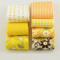 Wish   7PCS/Lot 100%Cotton Fabric Gold Yellow Sets Quilting Patchwork Fabric Strips 10cm x100cm For DIY Handmade Crafts