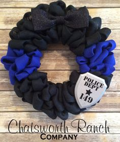 Police Officer Thin Blue Line Wreath Thin by ChatsworthRanchCo