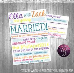 "2PC ""SweetFun"" Invitation and Response Card (Printable File Only) Wedding Invitation Printable; Fun and Flirty Writing Wedding"