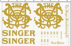 Singer 29k Decals for Restorations, gold, cobbler