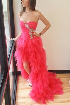 6438e728209 Coral organza sexy sweetheart beading high low long prom dresses
