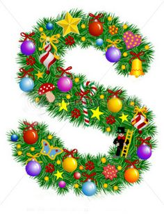 Illustration of Letter S - Christmas tree decoration - Alphabet vector art, clipart and stock vectors. Christmas Alphabet, Christmas Fonts, Christmas Design, Christmas Art, Christmas Photos, Christmas And New Year, Holiday Fonts, Xmas, Paper Decorations