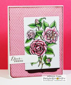 Power Poppy: Paper Tole Tutorial by Allison Cope. Camellias Digital Stamp Set by Power Poppy.