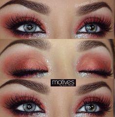 Red smokey eye, silver glitter