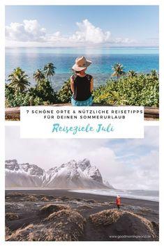Die herrlich grüne Landschaft auf der Blumeninsel Madeira bewundern, eine aufregende Segeltour auf dem IJsselmeer in den Niederlanden unternehmen, oder die funkelnden Lichter von Rio de Janeiro vom Zuckerhut aus bewundern – in diesem Beitrag habe ich viele inspirierende Ideen & nützliche Reisetipps für 7 der schönsten Reiseziele Juli für dich. Sommerurlaub I #reisezielejuli #sommerurlaub #reisetipps Good Morning World, Wonderful Places, Mountains, Travel Inspiration, Posts, Blog, Wood, Holiday Beach, Green Landscape