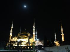 "Sultanahmet camii a.k.a.""Blue Mosque"" under the moon. Istakbul, Turkey."