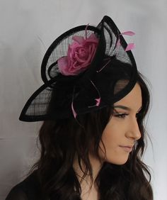 bd86841c Pink and Black Fischer UK Design 2 Tone Sinamay Hatinator Hair band  fascinator Pink Black,