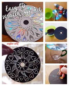 Easy CD scratch-off Art, a great art activity for kids of all ages - not only for Mother's Day