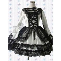 Special Long Sleeves Lace Bandage Cotton Black and White Gothic Lolita Dress Fancy Dress