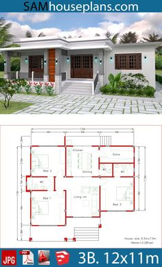 House Plans with 3 Bedrooms - Sam House Plans - House Plans with 3 Bedrooms – Sam House Plans - House Layout Plans, Family House Plans, Dream House Plans, Small House Plans, House Plans With Photos, Bungalow Haus Design, Modern Bungalow House, Simple Bungalow House Designs, 3 Bedroom Bungalow
