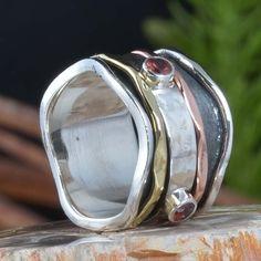 925 SOLID STERLING SILVER GARNET SPINNER PERFECT RING 7.09g DJR11372 SZ-5.5 #Handmade #Ring
