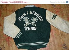 ON SALE 20% Vintage 70s VARSITY Letterman Jacket John F Kennedy Tennis Club By Hewit Mfg super rare Jacket by OldSchoolZone on Etsy