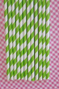 25 Lime Green Striped Paper Straws birthday party , wedding, bridal shower, event, cake pop sticks bonus diy straw flags