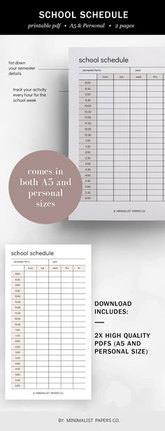 School Schedule and Home School Planner, Home School Schedule and Class Schedule, Schedule Planner, and Hourly Schedule - A5 & Personal Size For Individual Who Loves Minimalistic And Clean Design, Instant Download! #AcademicPrintable #SchoolSchedule #HomeSchoolPlanner #HomeSchoolSchedule #ClassSchedule #SchedulePlanner #HourlySchedule #HourlyPlanner #schoolplanner #Taskplanner