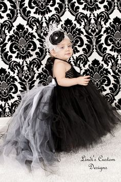 Black & White Tulle Tutu Flower Girl Dress with by sweethearttutus