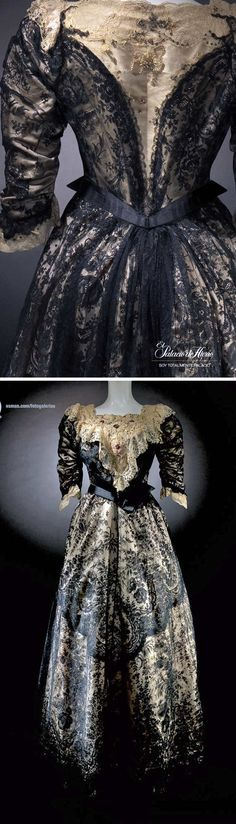 Dress, French, ca. 1900. Silk satin & Chantilly lace embroidered with beads. From the 2010 exhibit 200 Años de Moda at the Palacio de Hierro, Mexico.