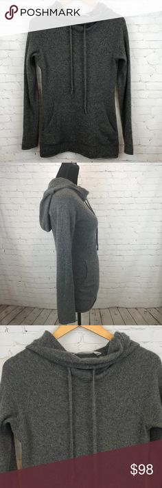 """Athleta 100% Cashmere Gray Hoodie Size Small Athleta 100% Cashmere Gray Hoodie Size Small With a sporty silhouette and ultra-luxe feel, this soft cashmere hoodie inspires total R&R for mind, body and soul. Adjustable drawstring hood Front kanga pocket gives hands a place to hang fit.  Approximate measurements pit to pit 16"""", pit to hem 19.5"""", back collar to hem 25.5"""". Preowned from a smoke free home, in great used condition. Check out the other items in my closet and create your own custom…"""