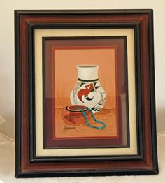 Framed Painting Pottery Scene by Navajo Artist Jimmy Yellowhair