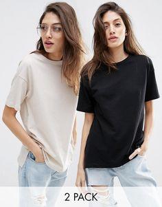 ASOS | ASOS Linen Look Oversized T-Shirt 2 Pack Save 10% at ASOS