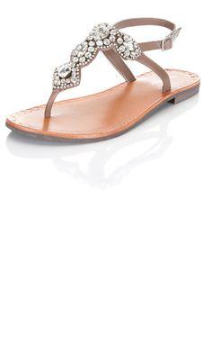 Miss Selfridge Leather Jewelled Sandals