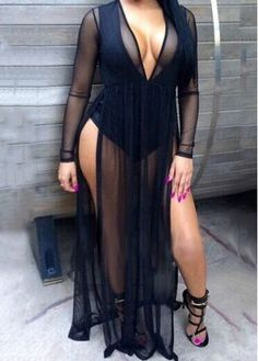 Plunging Neck Long Sleeve Black Maxi Dress | modlily.com