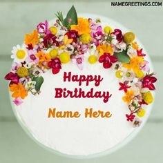 Happy Birthday Sister Cake, Happy Birthday Cake Writing, Happy Birthday Flower Cake, Happy Birthday Flowers Wishes, 22nd Birthday Cakes, Birthday Cake Write Name, Online Birthday Cake, Birthday Cake Greetings, Colorful Birthday Cake