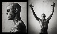 Genest is photographed by Mariano Vivanco in the new Spring/Summer 2011 issue of Vogue Hommes Japan with the editorial, Hard To Be Passive. Rick Genest, Pointillism, Cover Tattoo, Vanitas, Canadian Artists, Art Pictures, Photos, Body Art Tattoos, Fashion Photography