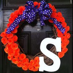 Clemson wreath I made - ready for football!!