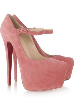 Christian Louboutin's towering rose suede Mary-Jane platform pumps