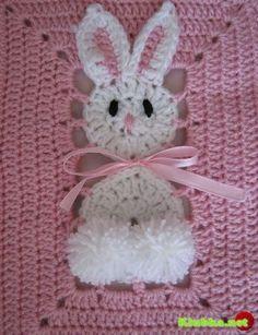 """Bunny"" granny square with diagram! ... http://pinterest.com/gigibrazil/crochet-kids/"