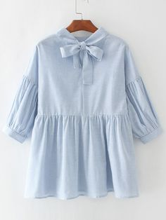 19$  Watch now - http://diw9y.justgood.pw/go.php?t=17157 - Blue Vertical Striped Babydoll Blouse With Bow Tie 19$