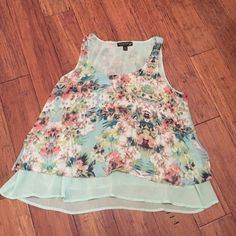 Fun summer top Pretty patterned summer tank...two layers for that flowing look. It's an XL purchased in the Juniors department. Never worn. Living Doll Tops Tank Tops
